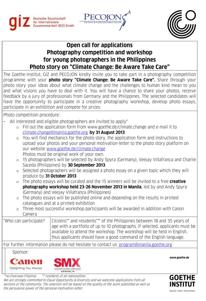 Here is the official call for applications for the climate change photo contest by Goethe Institut in partnership with GIZ and PECOJON.